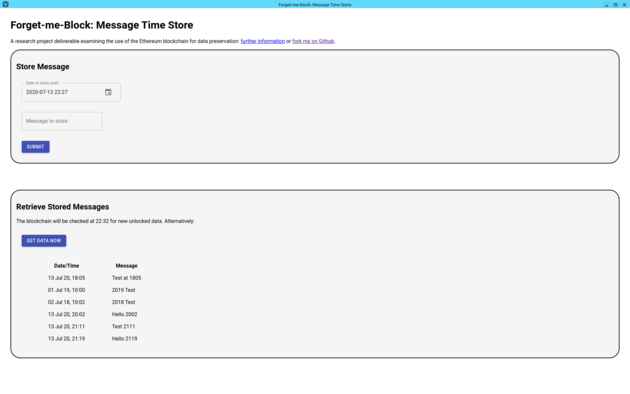 Forget-me-Block: Message Time Store